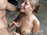 Biker dude cumming on a blonde babe